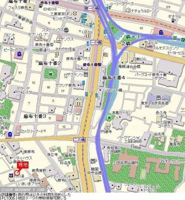 【地図】グランレーブ南麻布