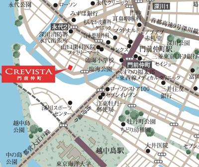 【地図】クレヴィスタ門前仲町