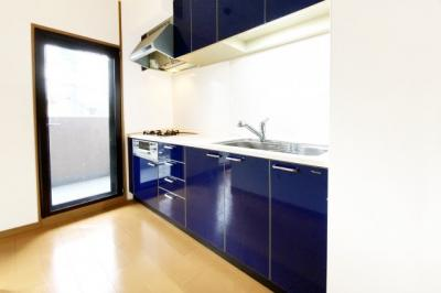 キッチンスペースに便利な勝手口があり、南側バルコニーに出られます。
