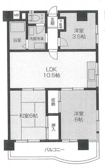 専有面積50.58平米、バルコニー面積8.97平米~最上階角部屋の南向き、採光や風通しに優れた快適な住み心地、和室の有る3LDK