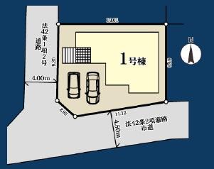 駐車スペースが2台備わる邸宅です。