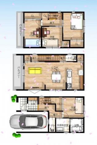 【確定プラン図】3階建て×4LDK モデルハウス建築中♪coming soon...♪♪