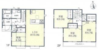 【間取り】平塚市長持 新築戸建 全6棟6号棟