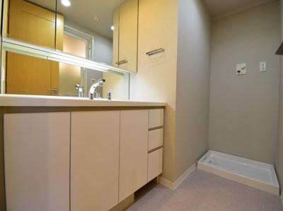 3面鏡付きの独立洗面台。フチなしボウルや可動式シャワーヘッドでお手入れもしやすく使い勝手も良いです。
