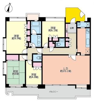 間取4LDK、専有面積122.55平米、バルコニー面積21.74平米、トイレ2か所、角部屋♪