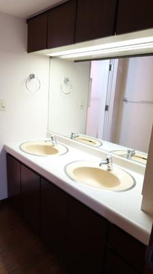 ダブルシンクの広々とした洗面台♪