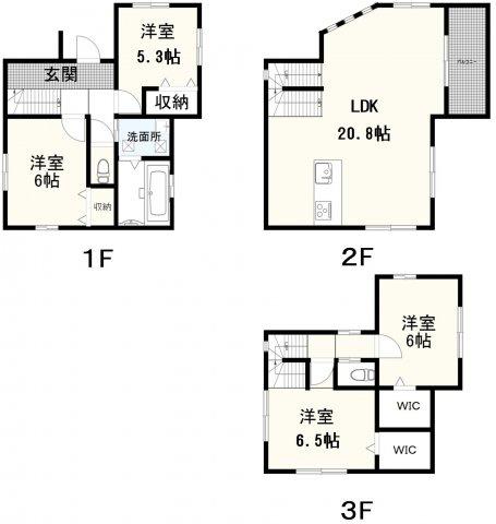 (1号棟)、価格5180万円、3LDK+S、土地面積89.91㎡、建物面積107.79㎡