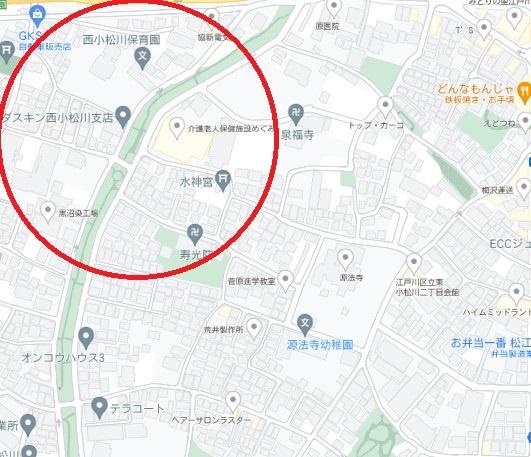 【地図】江戸川区西小松川町 新築戸建