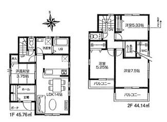3号棟:陽当りの良さを生かした4LDK、2階に多目的室付です