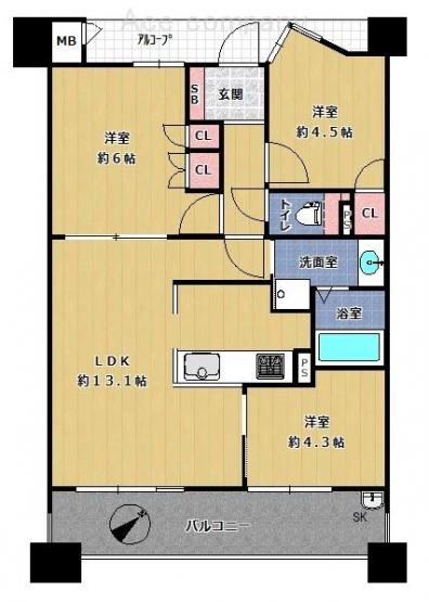 【3LDK+南東向】ペット飼育OK♪室内リフォーム済み☆柱型をなくしたアウトポール設計でお部屋スッキリ☆身体に優しい、床段差のほぼ無いフラット設計♪