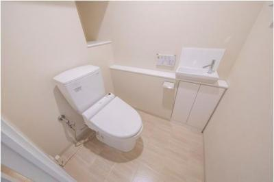 トイレには手洗いカウンターが設置されており、その場でしっかりと手洗いができ衛生的。掃除用具やペーパー類のストックもすっきりと収納できます。
