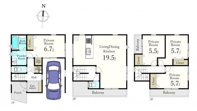 (2号棟)、4LDK、土地面積72.13m2、建物面積115.67m2