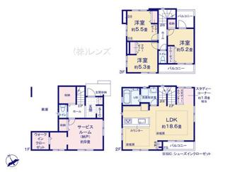 収納やフリースペースを多く設けた3階建てビルトガレージ付住宅