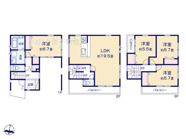 【間取り】川口市元郷3丁目17-14(2号棟)新築一戸建てファーストタウン