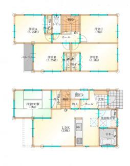 建物プラン例 建物面積97.70㎡ 建物価格1275万