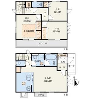 3LDK+小屋根裏収納