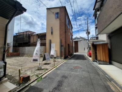 【前面道路含む現地写真】下京区朱雀裏畑町 建築条件無 売土地