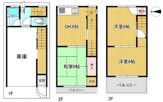 【収益オーナーチェンジ物件☆家賃5万賃貸中!】全室6帖以上、3DK+車庫付き♪