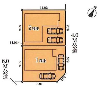 【区画図】名古屋市緑区鳴丘2丁目2803−1 【仲介手数料無料】新築一戸建て 2号棟