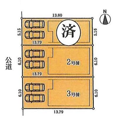 【区画図】名古屋市熱田区五番町12−19 【仲介手数料無料】新築一戸建て 3号棟