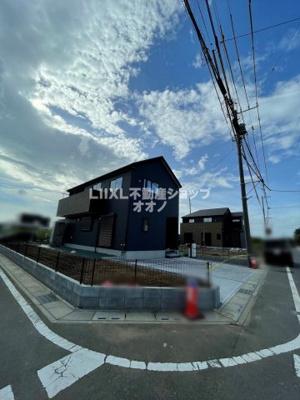 【前面道路含む現地写真】加須市北下新井 新築分譲住宅全3棟 LIGNAGE3号棟