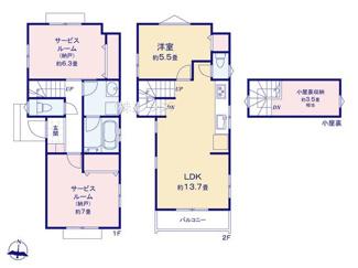 C号棟:固定階段式グルニエは屋根裏部屋感覚でご利用できます