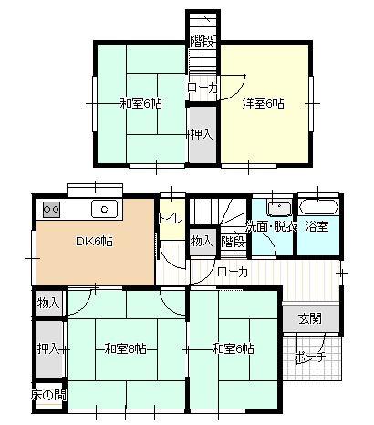 現在4DKの間取りを3LDKに変更します。DKと和室を繋げてリビングに拡張し、2階の和室は洋室へ間取り変更をします。
