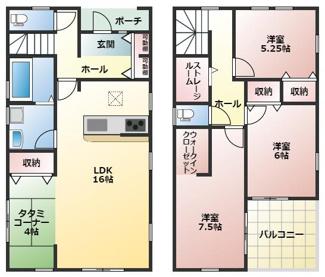 碧南第50春日町新築分譲住宅2号棟間取りです。