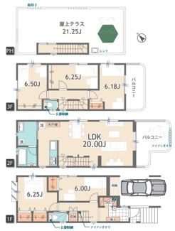 ゆとりの居住空間を確保した5LDKの大型邸宅。