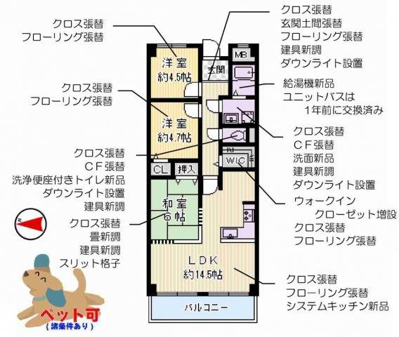 リノベーション物件 設備機能充実 ペット飼育可能(条件付き)キッチンにパントリースペースがある3SLDK