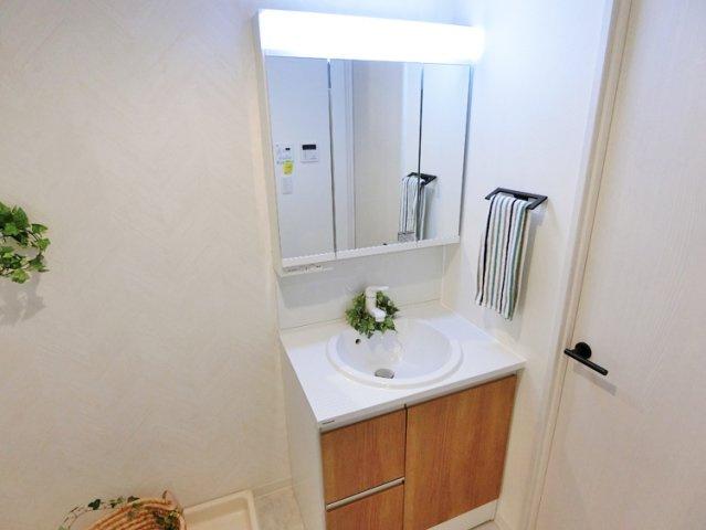 朝の身支度には欠かせないシャワー付き独立洗面化粧台