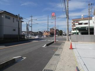 碧南第50春日町新築分譲住宅前面道路写真です。前面道路は南西側公道約13.20mに接道