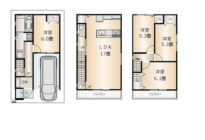 A・B号地 土地建物セット価格3580万円 C号地 土地建物セット価格3780万円