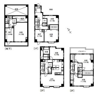 平成13年築の地下1階地上3階建て住宅、ホームエレベーター付