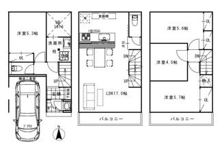 <4LDK>建物価格2200万円、建物面積98.24m2