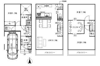 <3LDK>建物価格2200万円、建物面積104.46m2