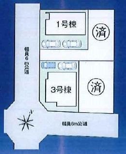 【区画図】松戸市第11八ヶ崎 全4棟