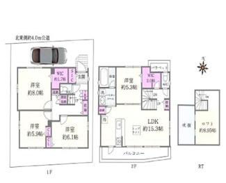 ゆとりある4LDK、固定階段式ロフトは屋根裏部屋感覚で利用可