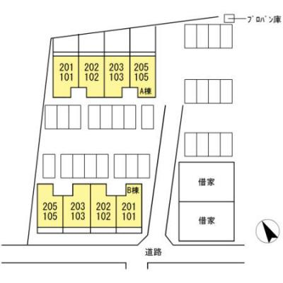 【区画図】コーポラス当新田 B棟