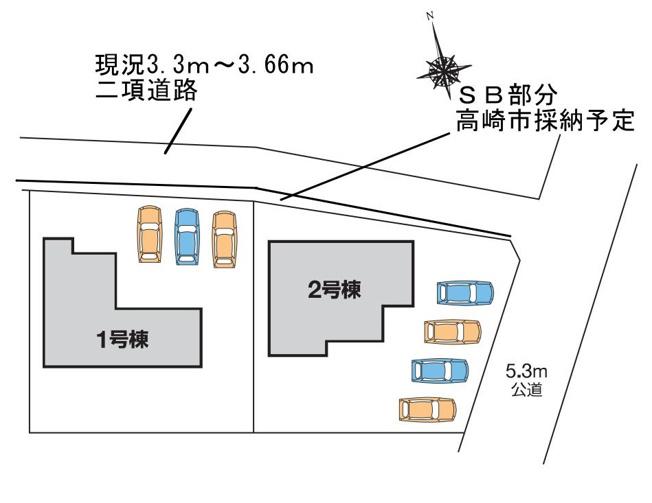 【区画図】高崎市本郷町 2号棟/LiveleGarden.S M
