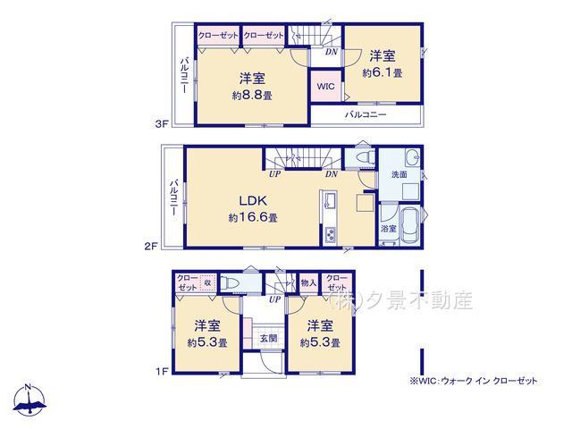 【区画図】南区根岸3丁目23-12(1号棟)新築一戸建てグランパティオ