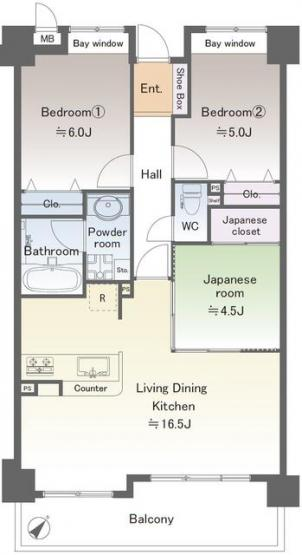 南東向きの明るいLDKは16.5帖の広さ。ダイニングテーブルを置いても、ソファやテレビも十分置けます