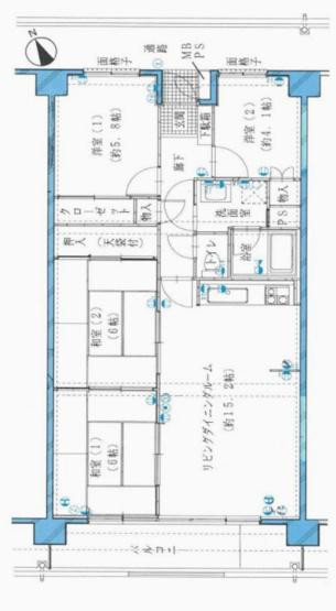 専有面積78.57平米、バルコニー面積9.28平米~5階南西向き、リビング15帖以上のファミリーにおススメの4LDK