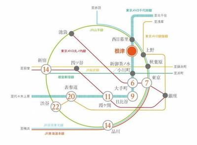 【地図】プラウドフラット根津谷中