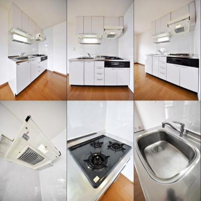 キッチン、それぞれの角度からの写真です。