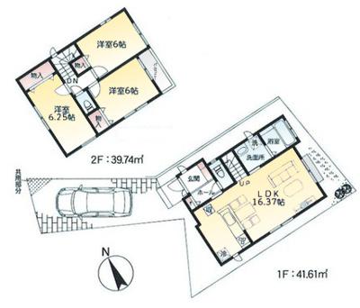 2号棟 敷地94.63㎡ 建物面積81.35㎡ LDK16.37帖 洋室3部屋全室6帖以上 カースペース