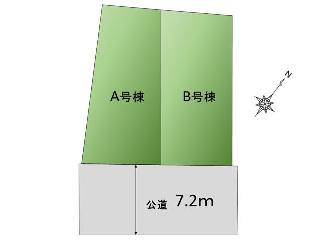 【区画図】陽当り良好な南側公道約7.2m! 大田区南馬込1丁目 新築戸建