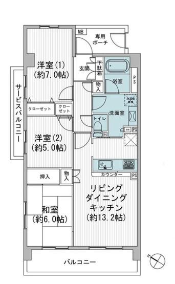専有面積70.2平米 3LDK リフォーム済物件・3方角部屋! ペット飼育可能なマンション♪
