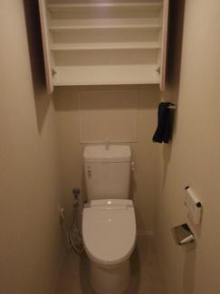 トイレットペーパーや掃除用品を収納出来る棚があります。