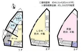 1LDK、建物面積49.51m2、建物価格1500万円程度